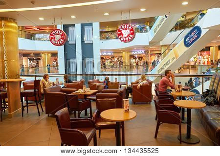SAINT PETERSBURG, RUSSIA - CIRCA JULY, 2015: interior of Costa Coffee. Costa Coffee is a British multinational coffeehouse company. It is the second largest coffeehouse chain in the world