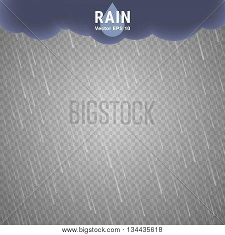 Transparent Rain Image. Vector Rainy Cloudy background