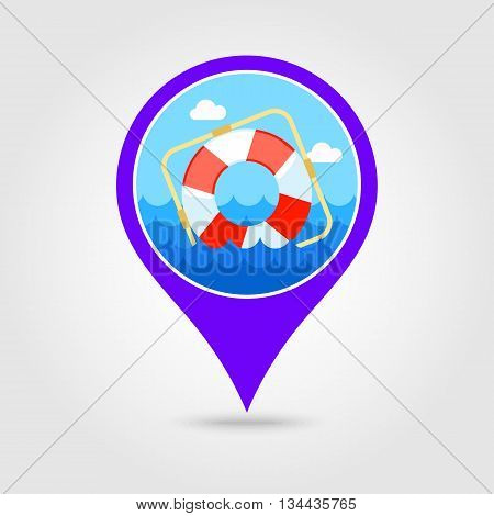 Lifebuoy vector pin map icon. Beach Map pointer. Summer Map markers. Holiday. Summertime. Vacation eps 10