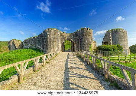 Ruins of the Corfe castle in County Dorset, UK