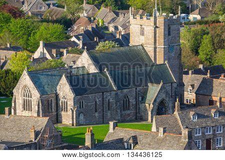 Architecture of the Corfe Castle village in County Dorset, UK