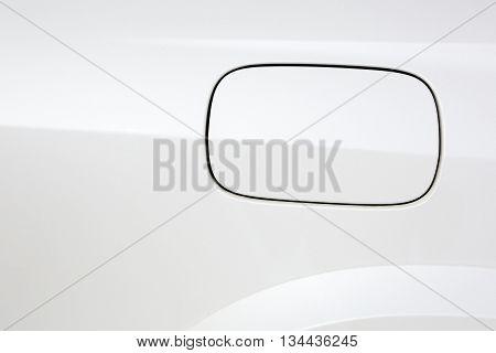 Close up of a petrol cap cover on a modern car.