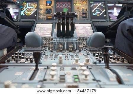 HONG KONG - MAY 12, 2016: cockpit of Emirates Airbus A380. Emirates is one of two flag carriers of the United Arab Emirates along with Etihad Airways and is based in Dubai.