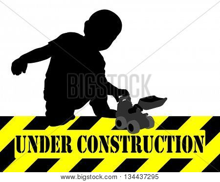 under construction sign,boy playing with bulldozer toy
