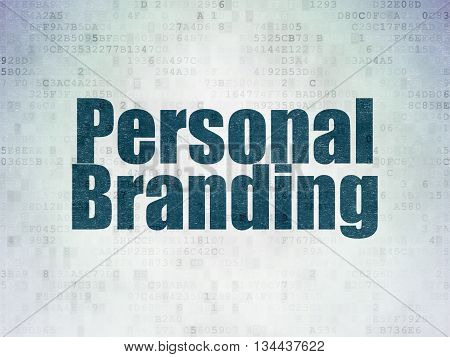 Marketing concept: Painted blue word Personal Branding on Digital Data Paper background