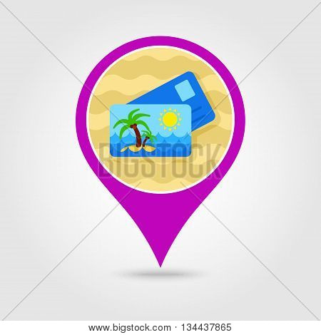 Card with palm vector pin map icon. Beach Map pointer. Summer Map markers. Holiday. Summertime. Vacation eps 10