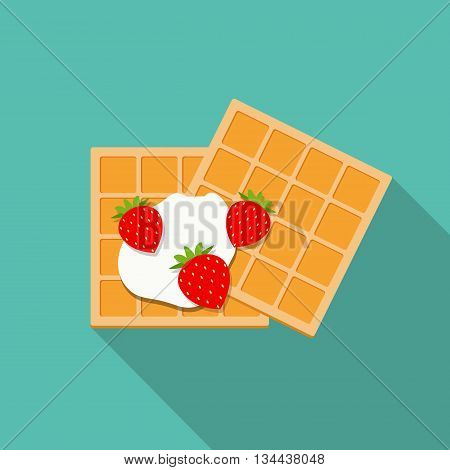 Breakfast Belgian Waffles with Cream and Strawberry Icon in Modern Flat Style Vector Illustration EPS10