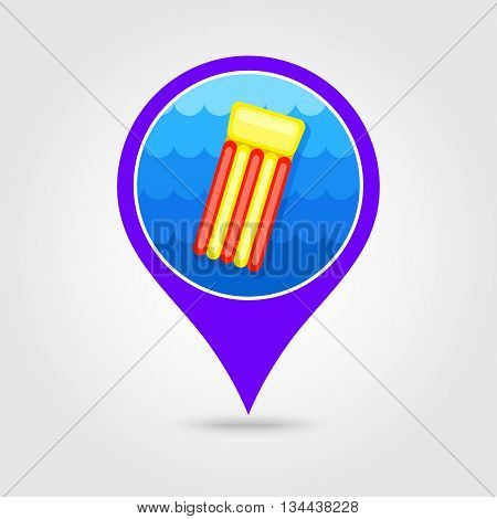 Floating mattress on beach vector pin map icon. Beach Map pointer. Summer Map markers. Holiday. Summertime. Vacation eps 10