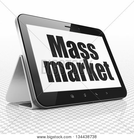 Marketing concept: Tablet Computer with black text Mass Market on display, 3D rendering