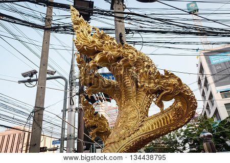 Gold 5 head Naga at Huay Kwang Bangkok