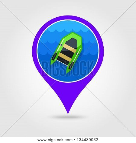 Inflatable boat vector pin map icon. Beach Map pointer. Summer Map markers. Holiday. Summertime. Vacation eps 10