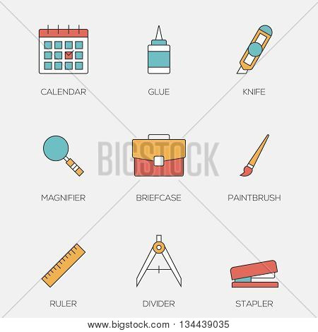 Office tools color line icons vol 3. Business office equipments