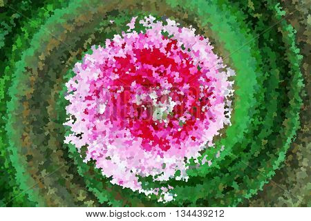 Swirl pink flower and green leaf by impressionist