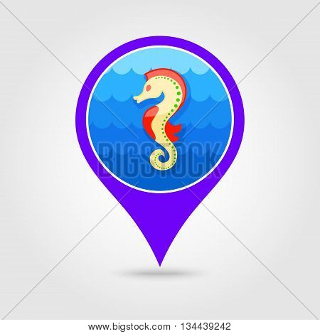 Sea Horse vector pin map icon. Beach Map pointer. Summer Map markers. Holiday. Summertime. Vacation eps 10