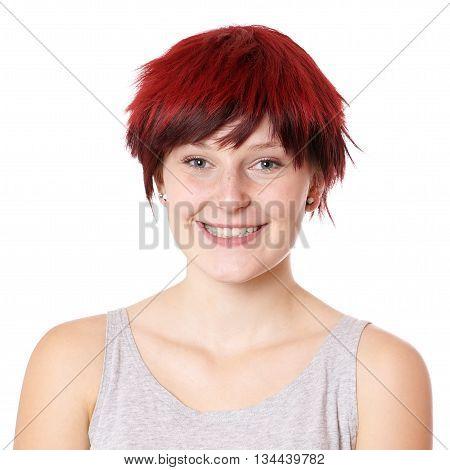 smiling young woman with boyish short hair cut