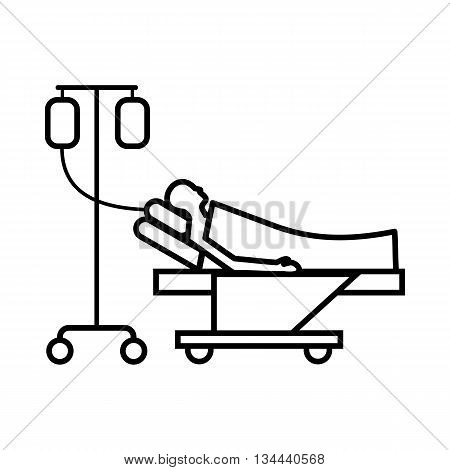 Patient in bed on a drip icon in outline style isolated on white background