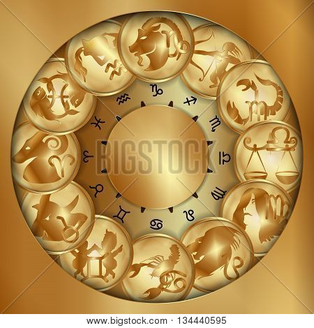 Vector illustration of zodiac signs on a gold disk in the form of a medallion.