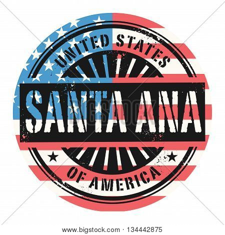 Grunge rubber stamp with the text United States of America, Santa Ana, vector illustration