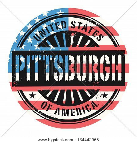 Grunge rubber stamp with the text United States of America, Pittsburgh, vector illustration
