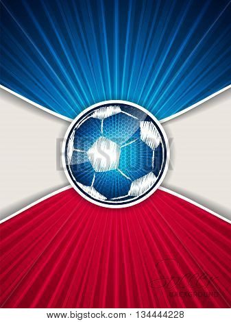 Abstract blue red soccer brochure template with bursting scribbled ball