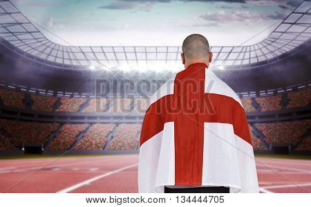 Athlete with england national flag against race track
