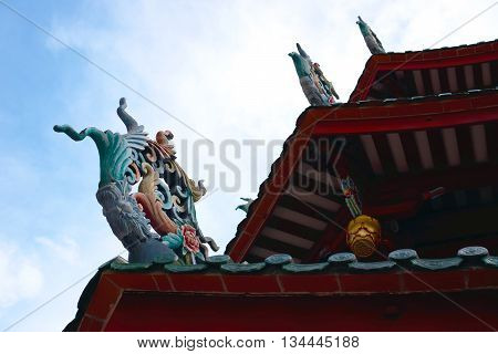 traditional chinese oriental roof against the sky
