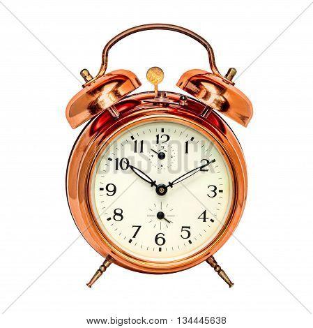 Vintage bronze alarm clock isolated on white background.