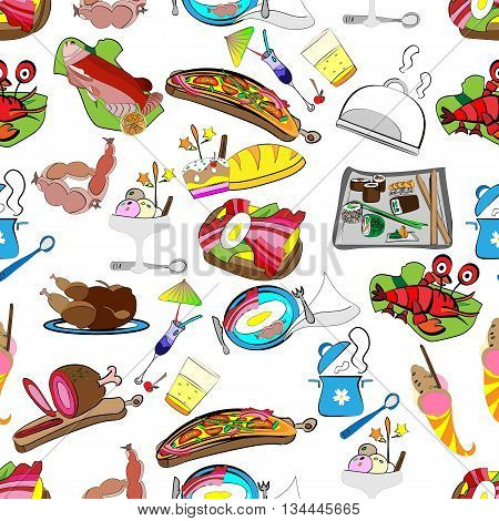 hand-drawn vector seamless pattern of a set of restaurant food grocery wrapper