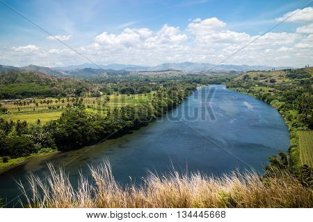 The view of the Sigatoka River from Tavuni Hill Fort in Fiji.