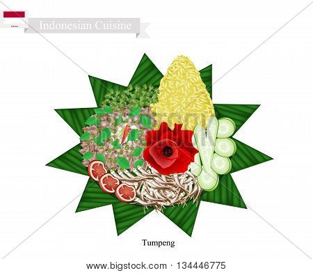 Indonesian Cuisine Tumpeng or Traditional Cone Shaped Curry Rice with Anchovies Fish and Vegetables One of The Most Popular Food of Indonesian.