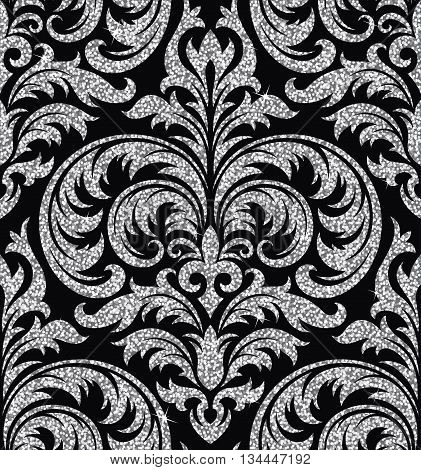 Seamless background from a floral silver ornament, Fashionable modern wallpaper or textile