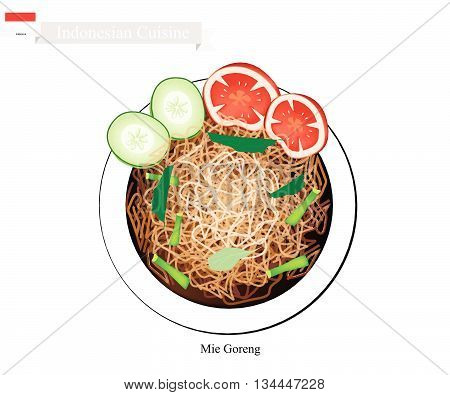 Indonesian Cuisine Mie Goreng or Traditional Fried Noodles. One of The Most Popular Dish in Indonesia.