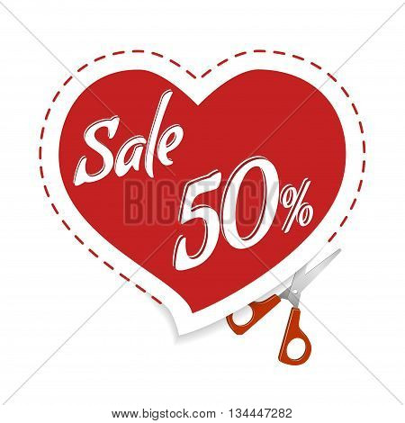 Cutting sticker discounts. Sale banner red heart, scissors. Sale and special offer. Up to 50 off.