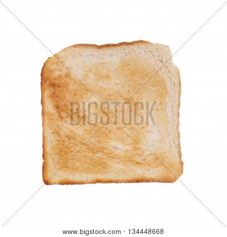 slice of browned toast isolated on white