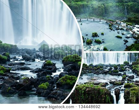 Collage of Iguazu falls in Brazil and Argentina images - travel background (my photos)