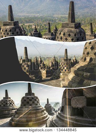 Collage Of Borobudur ( Indonesia ) Images - Travel Background (my Photos)