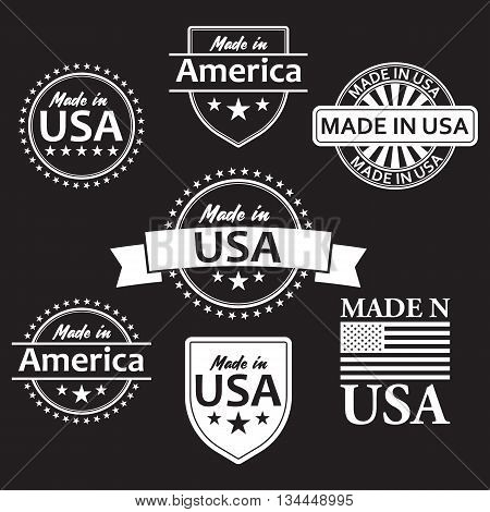 Collection of made in the USA labels. Vector format.