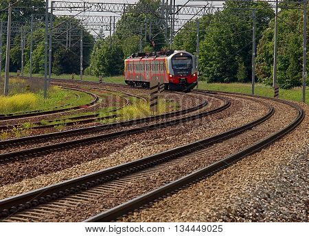 Lodz, Poland - June 14, 2016 Modern train Lodz regional rail on the bow rail route in Lodz.