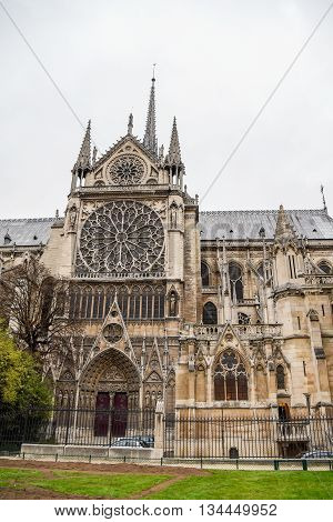 Notre Dame de Paris Cathedral near Seine River famous landmark of Paris France