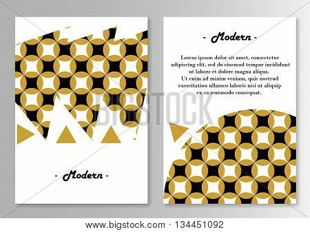 Vector brochure pages template. Pattern With traditional japanese motive. Vector illustration