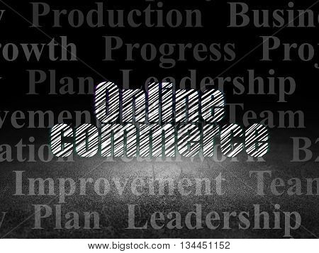 Finance concept: Glowing text Online Commerce in grunge dark room with Dirty Floor, black background with  Tag Cloud