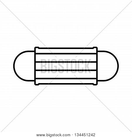 Disposable face mask icon in outline style isolated on white background