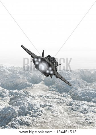 Science fiction illustration of an interplanetary spaceship in the atmosphere flying low over the rocky surface of an alien planet, 3d digitally rendered illustration (3d rendering, 3d illustration)