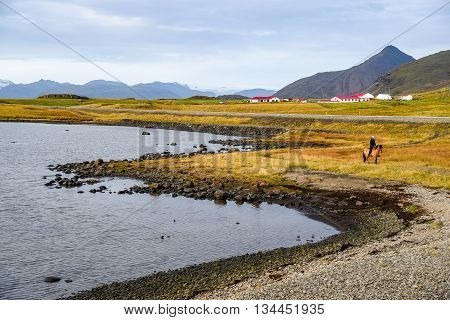 Beautiful Coastline and mountain landscape near ring road in autumn of Iceland