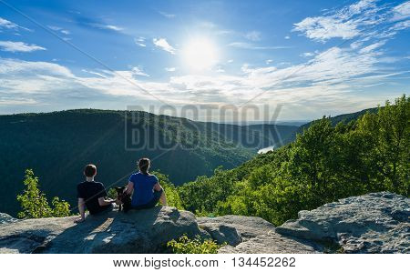 Hikers On Raven Rock In Coopers Rock State Forest Wv