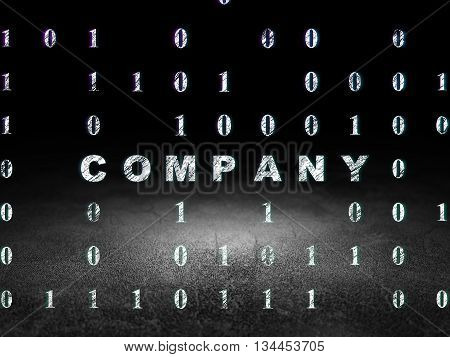 Finance concept: Glowing text Company in grunge dark room with Dirty Floor, black background with Binary Code