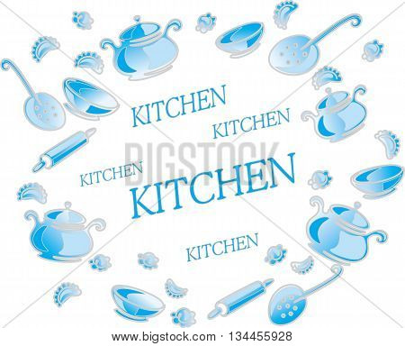 Illustration with kitchen utensils and accessories isolated on white background.