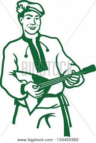 Vector illustration of russian balalaika player isolated on white background.