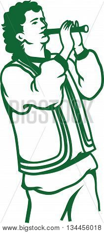 Vector illustration of Russian Romanian or Moldavian pipe-player isolated on white background.