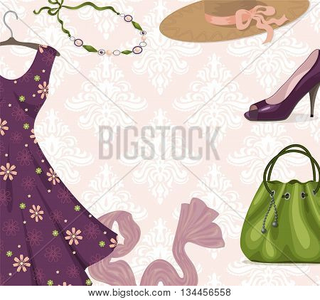 Vector background for clothing retail business or shopping: fancy violet romantic dress necklace shoe handbag hat scarf. Trendy style. Youth fashion clothes and accessories. Place for text.